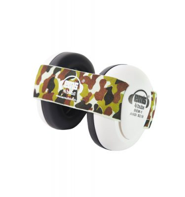 White Ems for Bubs Baby Earmuffs - Army Camo